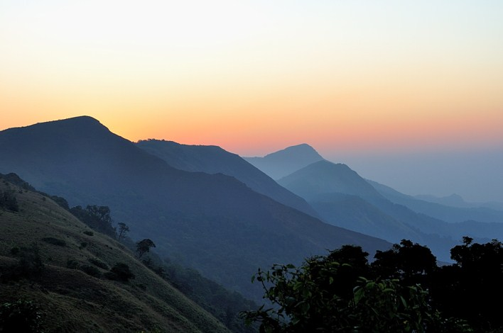 Sunrise at Thadiyandamol hills in Coorg
