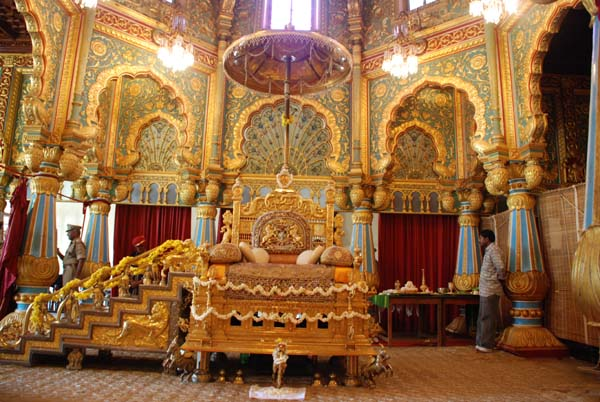 Mysore,Golden throne in Mysore palace. Image souece Sripriya