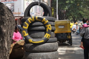 Tyre puncture shop in Gandhi Bazaar