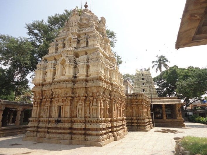Rear view of shrine with ornate sikhara, mantapa half pillars and gopura of Someshwara Temple at Kolar