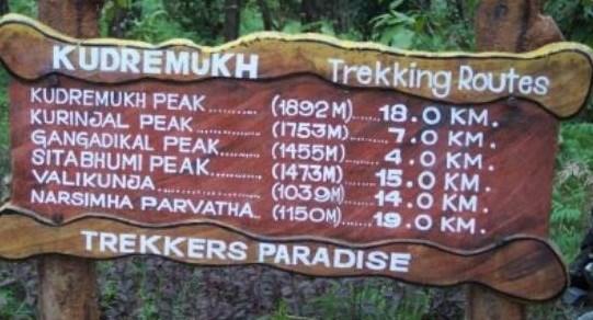 kudremukh trekking routes. Image source Tripadvisor